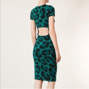 Topshop Green Leopard Print Open Back Dress